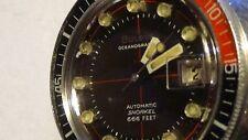 MENS SWISS BULOVA OCEANOGRAPHER SNORKEL 666ft Diver WRIST WATCH BLACK DIAL 1970