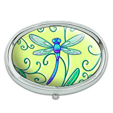 Delicate Dragonfly Metal Oval Pill Case Box