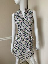 Sweet Pea NEW! Ivory/Blue/Green/Pink Polka Dot Stretch Nylon Belted Dress S NWOT