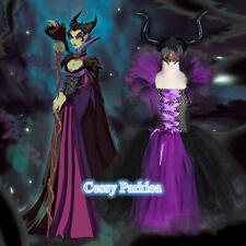 Girls Maleficent Evil Queen Tutu Dress Halloween Book Week Costume W/Horns