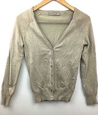 Zara Womens Cardigan Sweater Knit Beige Button Front Long Sleeve Cotton Blend XS