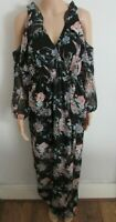 NEW BLACK COLD SHOULDER FLORAL MAXI DRESS SIZE 6 MISS SELFRIDGE