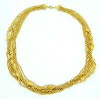 Textured Multi-Strand Gold Tone Chain Link Choker Necklace Vintage