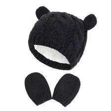 Baby Warm Knit Hat Glove Set Solid Warm Cute Gloves Winter Girls Boys Beanie