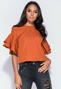 Womens Parisian Casual Rust Frill Sleeve Round Neck Top Size 6