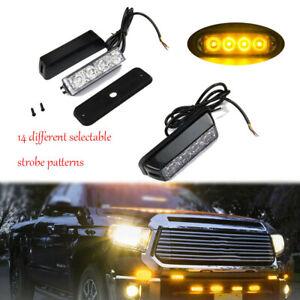 USA Amber/Yellow 4 LED Side Marker Strobe Light Flashing Emergency Warning