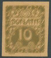 TSCHECHOSLOWAKEI 1919 Portomarke 10 (H) oliv ungez. Probedruck DOPPELDRUCK
