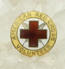 Gold Plate & Enamel Pin! 376 Vtg American Red Cross Sterling Silver w/