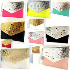 NEW BLACK & GOLD OVERSIZE EVENING CLUTCH BAG PARTY CLUB RED NUDE FUCHSIA SILVER