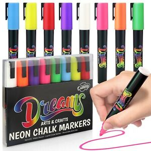 Premium Neon Liquid Chalk Pens 6mm Washable Window Markers Set of 8 inc White