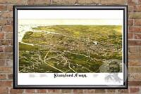 Vintage Stamford, CT Map 1883 - Historic Connecticut Art - Victorian Industrial