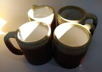 4 Mug Set RODOLFO PADILLA Signed Pottery Brown Red Drip Coffee Tea STONEWARE Cup