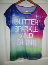 euc JUSTICE girl sz 20 blue red pink green glitter shirt pullover top colorful