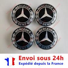 LOT 4 Caches Moyeu Emblème Mercedes Logo Jantes Centre Roue Noir et Gris 60 mm