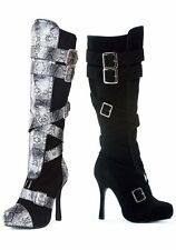 Ellie Shoes 420-VIXEN 4 Inch Microfiber Knee High Boot With Buckles