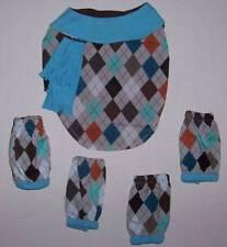 Designer Dog Reversible Coat and Leggings Argyle Blue Brown Size Small