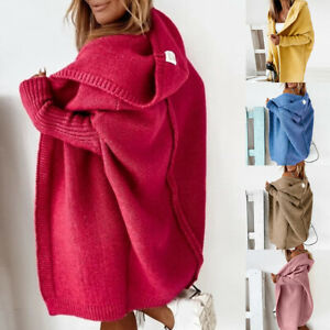 Womens Knitted Cardigan Chunky Hooded Open Front Sweater Coat Winter Overcoats