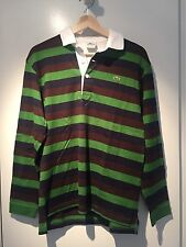 Lacoste Men's Long Sleeve Rugby Polo Shirt Striped Green Brown Blue Size S EUC