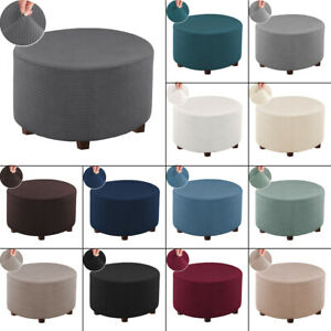 Round Ottoman Cover Stretch Slipcovers Removable Polyester Footstool Protector