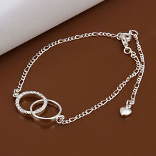 925Sterling  Silver Zircon Two Circles Anklets Foot Chain Anklet Bracelet A005