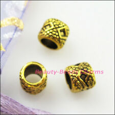 20Pcs Antiqued Gold Tone Tube Spacer Beads Charms 6x7mm
