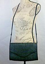 Vintage Black Straw Cross Body Bag Clutch Shoulder Bag Made in Hong Kong 1980's