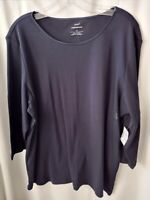 NWT Women's Cj Banks Layer-Your-Look 100% Cotton Top T-shirt 3/4 sleeves size XL