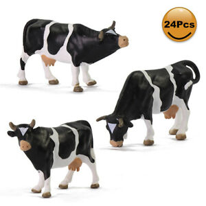24pcs Model Trains 1:43 Scale O Scale Painted PVC Cows Animals Railway Diorama