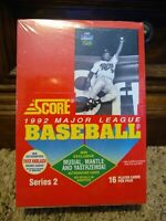 1992 Score Baseball Series 2 Wax Box 36 Packs Factory Sealed