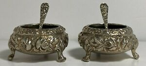 """Pair of Stieff Repousse 2"""" Footed Salt Cellar with Spoon Sterling Silver"""