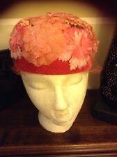 VINTAGE EXQUISITE MILLENARY FLORAL VELVET HOT PINK EASTER HAT NETTING FLOWERS