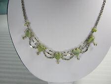 Peru Hearts Necklace 5 Green Jasper  Gemstone  Hearts 17 ins  Nickel Silver New