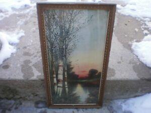 "ANTIQUE ""THE BIRCHES"" ART LITHOGRAPH PRINT 1920'S"