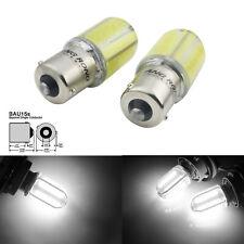 2x PY21W BAU15S LED Ampoules 8 COB Voiture Blanc Feux de Jour Recul Clignotant
