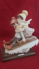 "Vintage 1982 Giuseppe Armani Italy Children Sledding 9.5"" X 7"" Sculpture Figurin"