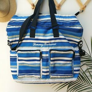 Tommy Bahama Insulated Cooler Tote Bag Beach Vacation Large Striped Blue Marlin