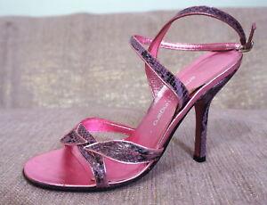 EMANUEL UNGARO Leather Sandal Snakeskin Pink Heel Ankle Strap Shoe 36