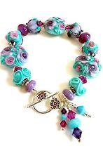 Purple Aqua Floral Bracelet, Turquoise Flower Chintz Lampwork Bracelet Beaded