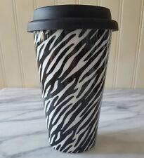 Eco One ZEBRA PATTERN  Insulated Travel Mug Ceramic Coffee Cup BLACK WHITE tea