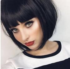 Women's Black Short Bobo Wigs Short Straight Synthetic Fiber Full Cosplay Wigs