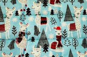 """FLASH SALE""""WINTER LLAMAS"""" 34x43in VERY CUTE FLANNEL BOYS BABY/TODDLER QUILT-GIFT"""