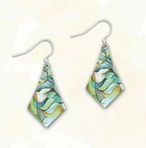 DC Designs Jewelry Abstract Greens 6CBP Wearable Art EARRINGS Sterling Plated