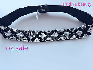 NEW Lady Narrow Pearl Beads sequined Black Elastic Bride Party Waist band Belt