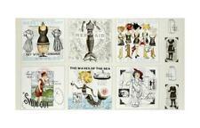 "Steampunk Mermaid Sew Themed Cotton Fabric QT She Sews Sea Shells 24""X44"" Panel"