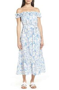 Women's Tory Burch Linen Ruffle Dress- Far and Away Toile, Size Large