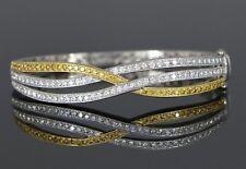 Simon G 18ct Amarillo Oro Blanco Diamante Miligrano Cruzado Pulsera