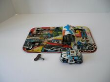 Vintage TPS MECHANICAL TIN WIND UP POLICE PURSUIT CAR TIN TRACK W/CAR AND KEY