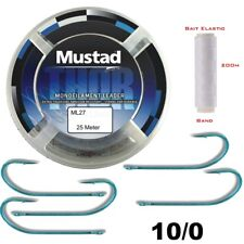 Mustad Thor mono Leader ml27 0,80mm + Nb-Hooks GR: 10/0 + 200m elastic Bait Band