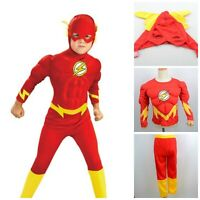 Kids The Flash Muscle Costume Superhero Fancy Dress Outfit Book Week Halloween