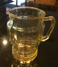 Lancaster Depression Glass Jubilee style Topaz / Yellow Large Pitcher
